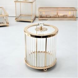 Esmer Hediyelik - Dekoratif Silindir Kapaklı Kutu Gold
