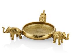 Lamedore - Elefante 3 Filli Gold Dekoratif Kase 42X42X9 Cm