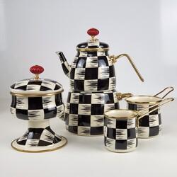 Dekor Arya - Emaye Krem Dama Çay Kahve Seti