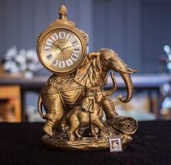 Dekor Arya - Fil Figürlü Masa Saati 44*33 Cm