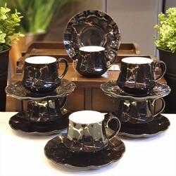 Deco Vien - Siyah Mermer Türk Kahvesi Fincan Takımı