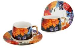 Lucky Art - Gardenia 6'lı Bone Kahve Fincan Seti