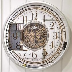 Dekor Arya - Gear Clock Latin Gümüş 80*9.5