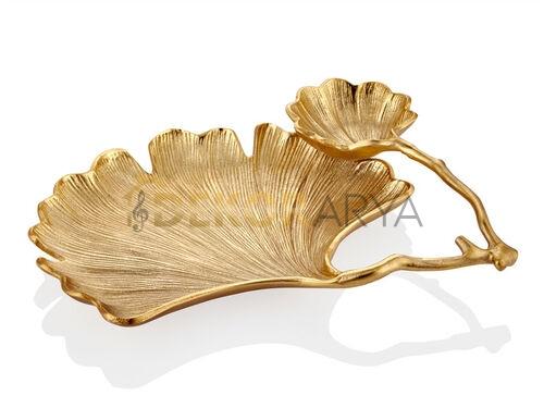 Gingko Yapraklı Gold 2'li Dekoratif Kase