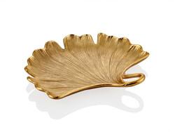 Lamedore - Gingko Yapraklı Gold Büyük Dekoratif Kase