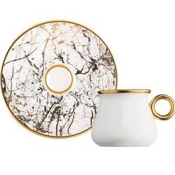 GLAZZE - Glazze Imperial Beyaz 12 Parça Butik Kahve Takımı