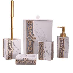 Dekor Arya - Gold-Beyaz Beş Parça Banyo Takımı