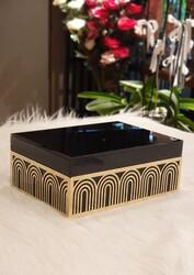 Dekor Arya - Gold Detaylı Siyah Kapaklı Mücevher Kutusu