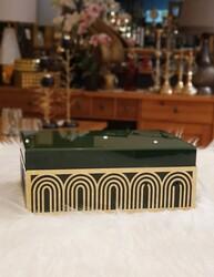Dekor Arya - Gold Detaylı Yeşil Kapaklı Mücevher Kutusu