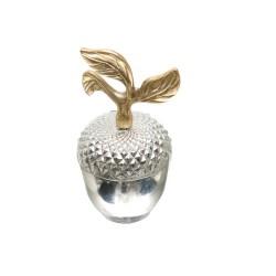 Dekor Arya - Gold Yapraklı Gümüş Elma Kutu