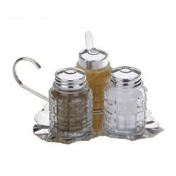 Porio - Gümüş Alt Tabaklı Üçlü Baharat Seti