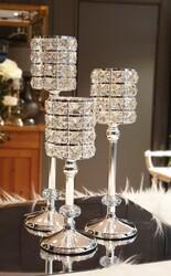 Gümüş Ayaklı Kristal Mumluk - Thumbnail