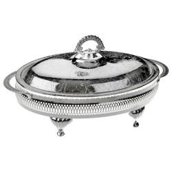 Queen Anne - Gümüş Cam 4 Bölmeli Kulplu Kapaklı Servis