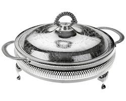 Queen Anne - Gümüş Cam 5 Bölmeli Kulplu Kapaklı Servis