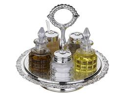 Queen Anne - Gümüş Cam 5li Döner Tepsili Sosluk Seti
