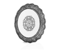 Porio - Gümüş Dantel İşlemeli Yuvarlak Aynalı Tepsi 40*40