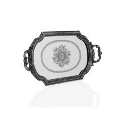 Porio - Gümüş Kulplu Küçük Aynalı Tepsi
