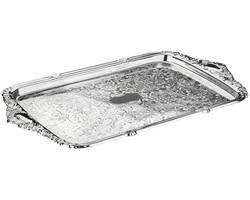 Queen Anne - Gümüş Kulplu Oval Tepsi