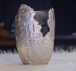 Lamedore - Gümüş - Parcalı Vazo Büyük Boy Vazo