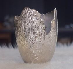 Lamedore - Gümüş - Parçalı Saksı Küçük Boy Vazo