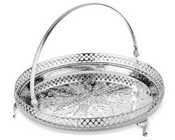 Queen Anne - Gümüş Tutma Saplı Yan Delikli Ayaklı Tepsi