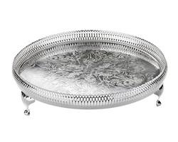 Queen Anne - Gümüş Yan Delikli Ayaklı Yuvarlak Tepsi