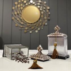 Porio - Gümüş Zımbalı Cam Kare 2'li Dekoratif Kavanoz 14*10*23 Cm