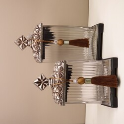 Dekor Arya - Gümüş Zımbalı Dekoratif Kavanoz 2 Li Set