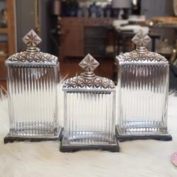 Porio - Gümüş Zımbalı Dekoratif Kavanoz 3lü Set