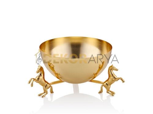 HORSE AT DETAYLI GOLD 25 CM DEKORATIF