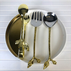 Lamedore - Julien Dal Desen 2'li Salata Servisi ve Yemek Maşası Altın Renk