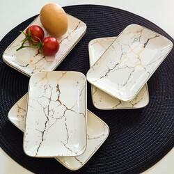 Deco Vien - Kahvaltılık Tabak Dikdörtgen Beyaz 16x10 Cm
