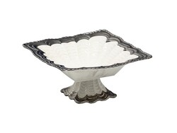 Dekor Arya - Kare Ayaklı Meyvelik Gümüş 27 Cm