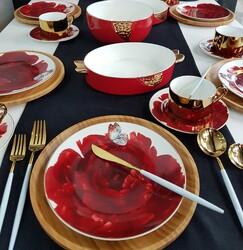 Dekor Arya - Kırmızı 27 Parça Kahvaltı & İkram Takımı