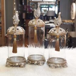 Dekor Arya - Krem Kuş Kapaklı Üçlü Cam Dekoratif Kavanoz