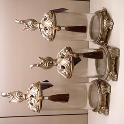 Porio - Krem Kuş Kapaklı Üçlü Cam Dekoratif Kavanoz