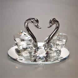 Dekor Arya - Kristal Cam Kuğu Gümüş 11*7*7 cm