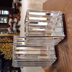 Deco Vien - Kristal Kare Gümüş İkili Mumluk