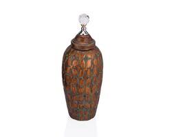 Dekor Arya - Kristal Kulplu Kahverengi Dekoratif Kavanoz