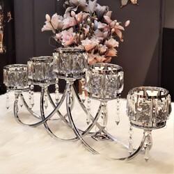 Deco Vien - Kristal Taşlı Gümüş Beşli Şamdan