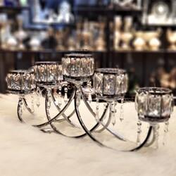 Kristal Taşlı Gümüş Beşli Şamdan - Thumbnail
