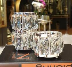 Dekor Arya - Kristal Taşli 2li Gümüş Mumluk