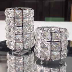 Dekor Arya - Kristal Taşlı Metal 2li Mumluk Gümüş