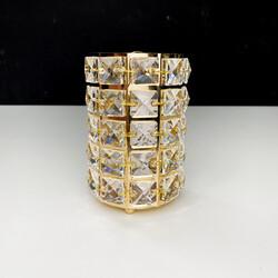 Dekor Arya - Kristal Taşlı Metal Mumluk Gold Büyük