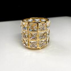 Dekor Arya - Kristal Taşlı Metal Mumluk Gold Küçük