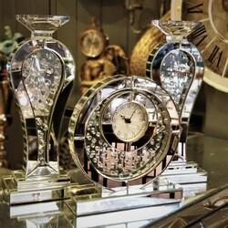 Esmer Hediyelik - Kristal Taşlı Şamdan Saat Set