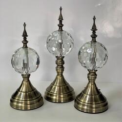 Dekor Arya - Krom Eskitme Detaylı Kristal Taşlı 3 Lü Küre Dekor