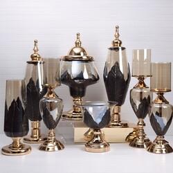 Esmer Hediyelik - Leaf 8 Parça Modern Gold Salon Takımı