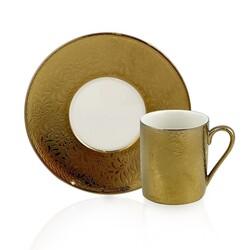 Dekor Arya - Leaf Gold 6'lı Kahve Fincan Takımı