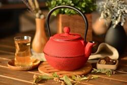 taşev - Linden Menekşe 1200 ml Kırmızı Döküm Çaydanlık